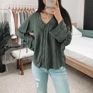 LAST Olive Green Peasant Blouse